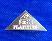 5 GRAIN 99.9 Pure Platinum Bullion Pyramid Bar