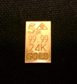 5 Grain 24K 99.99 Fine Gold Bullion Bar
