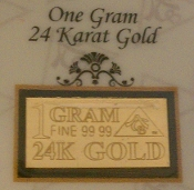1 GRAM 24K 99.99 Fine Gold Bullion Bar - CERTIFICATE