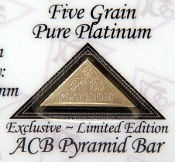 5 GRAIN 99.9 Pure Platinum Bullion Pyramid Bar - CERTIFICATE
